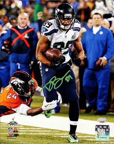 Hawk Signed Green (Doug Baldwin Signed 8x10 Photo Seattle Seahawks Super Bowl In Green - Autographed NFL Football Photos)