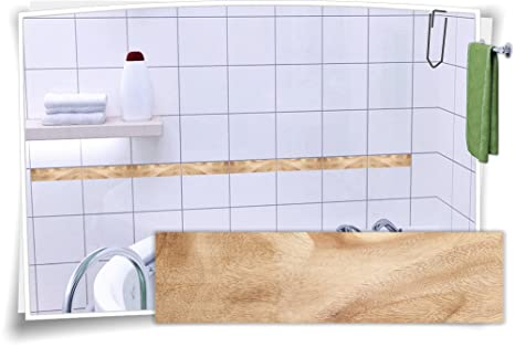 Fliesenaufkleber Fliesenbordüre Bordüre Fliesen Holz Kachel Aufkleber, 20  Stück, 20x5,2cm (BxH