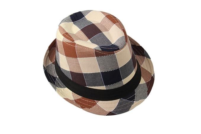 b93142b565c Amazon.com  Dantiya Kids  Little Boys Plaid Cotton Fedoras Hat Cap ...