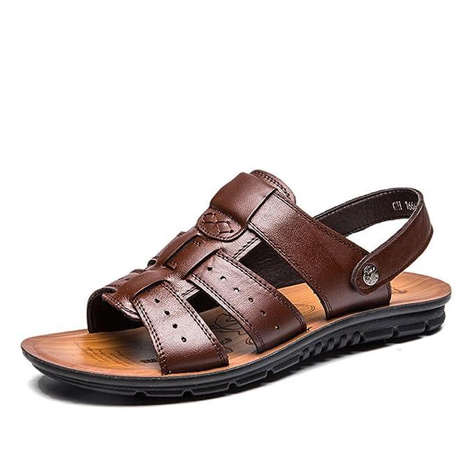 Sandalias de los hombres Genuine Split Leather Men Beach Sandals Hombres Zapatos casuales Chanclas Zapatillas Hombres Zapatillas Zapatos de verano: ...