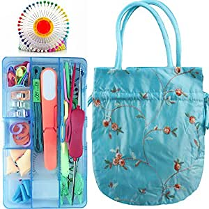 A compact of 126 pices Knitting Accessory Kits Supply Set Basic Tools For Knitting Or Crochet Project+ A Small Blue Kntting Bag