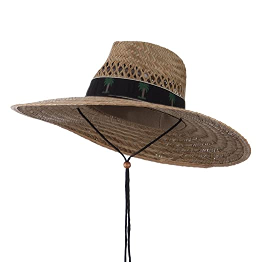0559ed4d Uv 50 Designed Band Wide Brim Straw Hat Palm Black Osfm At Amazon