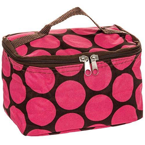"Womens 7"" Large Polka Dot Cosmetic Makeup Bag (Brown & Pink)"