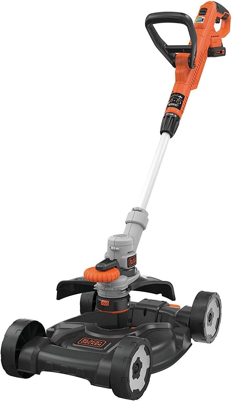 Black+Decker STC1825CM-QW Herramienta 3 en 1: cortador de bordes, desbordamientos y cortacésped inalámbrico, 2 velocidades, 1 batería, cargador de 5 horas, naranja, 28 cm