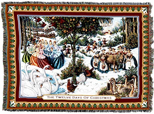 Pure Country Weavers | Twelve Days of Christmas Woven Tapestry Throw Blanket with Fringe Cotton USA 72x54