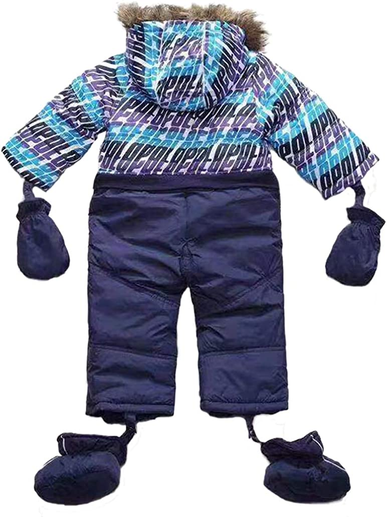 Tailloday Newborn Baby Boys Girls Winter Snowsuit Warm Romper Fur Collar Hooded Coat with Shoes and Gloves