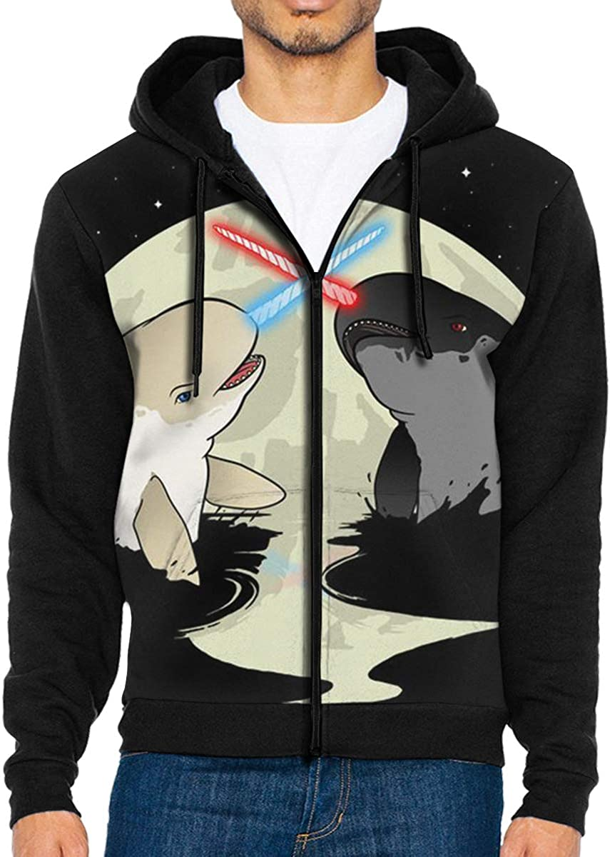 HEHE TAN Men Pullover Hood Fighting Narwhals Zip Hoodies Hooded Cool Jackets Coats