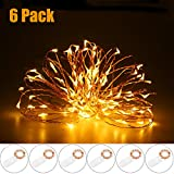 RECESKY Starry String Lights 6 Pack 20 LED 6.56ft Battery Operated Copper String Light - Fairy Christmas Decorative Lighting for Indoor, Xmas Decor, Garland, Tree, Holiday Decorations (Warm White)