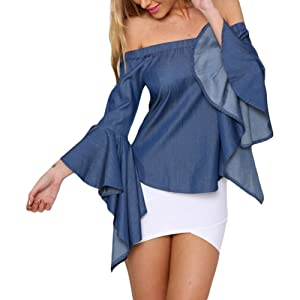 Women Denim Off the Shoulder Bell Sleeve Casual Top Blouse (M)