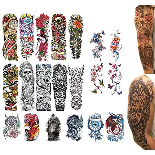 20 Temporary Tattoos | Fake Realistic Sleeve Ink | Semi Permanent Water Resistant Set | For Men and Women or Kids | Large Big Designs