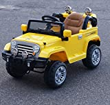 hummer power wheels for girls - Exclusive Ride on Car 12v Jeep Wrangler Style Toy for Kids, Boys and Girls with Opening doors, Music, Lights and Remote control- Yellow