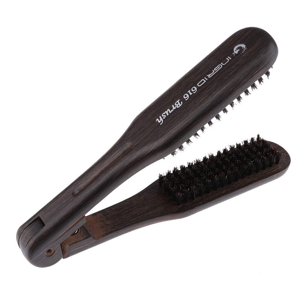D DOLITY V Shape DIY Salon Hairdressing Hair Straightening Hair Brush Straightener Wooden Anti-static Dual-Brush Comb