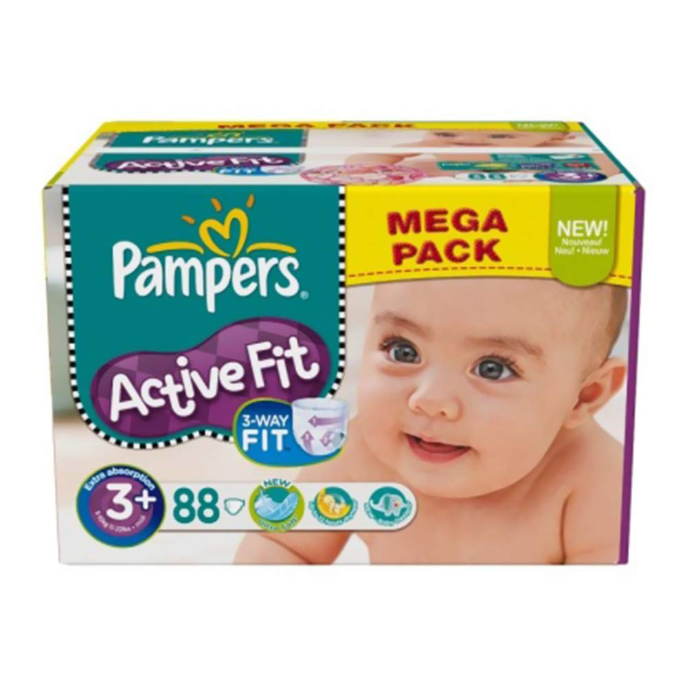 Pampers Active Fit, Size S3, (5 kg-10 kg), 88 Nappies (Packed in 2x44s)