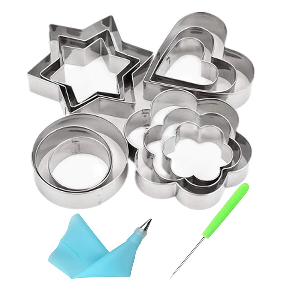 Cofe-BY Stainless Steel Cookie Cutters set 16pcs, Mini Cookie Press Molds Round,Flower,Heart,Star Shapes Cake Fondant Biscuit Fruit Cutters with 1 Coupler +1 Icing Nozzle + 1 Pastry Bag + 1 Cookie Needle(Random Color) CT003-12S