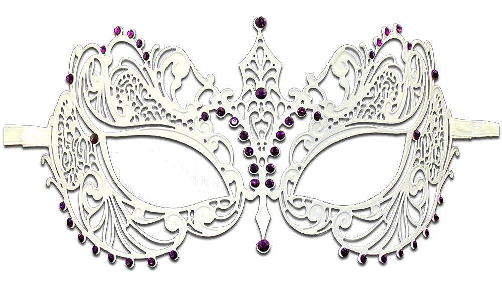 Luxury Mask Women's Laser Cut Metal Venetian Pretty Masquerade Mask Black Black/Clear Stones One Size Burlesque-Boutique MA001