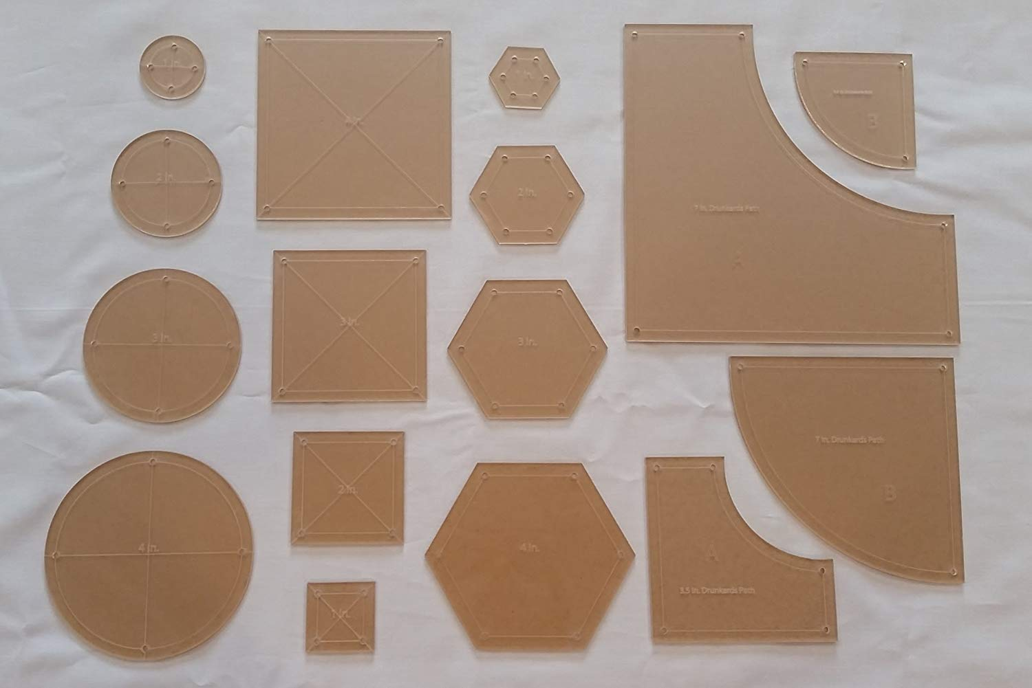 Drunkards Path, Hexagon, Circle, and Square Acrylic Quilting Templates, 4'', 3'', 2'', 1'' with 1/4'' Seam Allowance - 16 Pieces by LaserThing