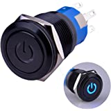 "Ulincos Latching Pushbutton Switch U19C1 1NO1NC SPDT ON/OFF Black Metal Shell with Blue LED Suitable for 19mm 3/4"" Mounting Hole (Blue)"