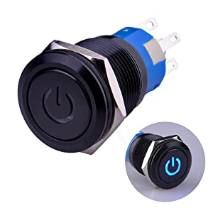 """Ulincos Latching Pushbutton Switch U19C1 1NO1NC SPDT ON/OFF Black Metal Shell with Blue LED Suitable for 19mm 3/4"""" Mounting Hole (Blue)"""