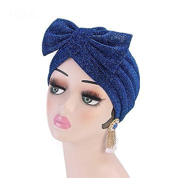 Amazon.com : Metallic Bow Turban Hijab Cap Chemo Hat Muslim Turban Bow Knot Hair Accessory For Women Royal Blue : Beauty