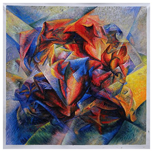 Dynamism of a Soccer Player - Umberto Boccioni hand-painted oil painting reproduction,sculpted calf,youthful athlete art,exercise room decor