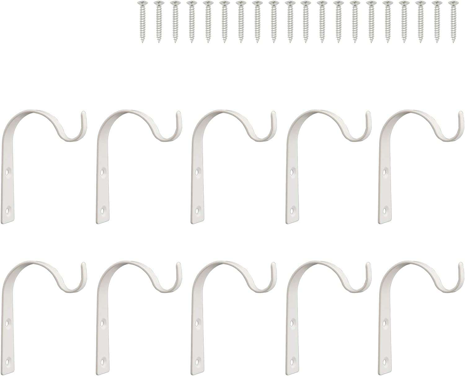 FEED GARDEN Iron Wall Hook for Hanging Plant Bracket, 3 Inch 10 Pack,Metal Hooks for Plant Hangers, Lanterns, Coats, Mason Jar, Indoor & Outdoor Rustic Home Decoration,White