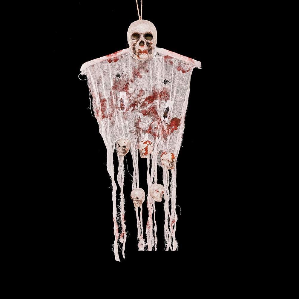 Bar House Party Skeleton Sang TOPFAY Un fant/ôme d/écoration Halloween Squelette du cr/âne Porte Suspendue Suspendu Goule D/écoration Halloween Haunted Jardin D/écoration