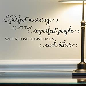 """A Perfect Marriage Wall Decal, Married Quote Wall Décor, 24""""x11"""" Black, Husband and Wife Stickers"""