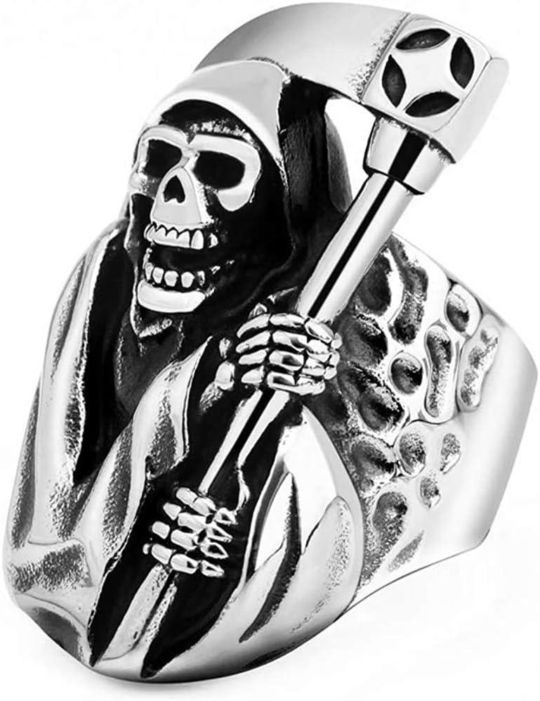 Único De La Vendimia Hombres De La Moda Grim Reaper Cráneo De La Muerte con La Hoz De Acero Inoxidable Anillo 316L De Acero Inoxidable Suena,10