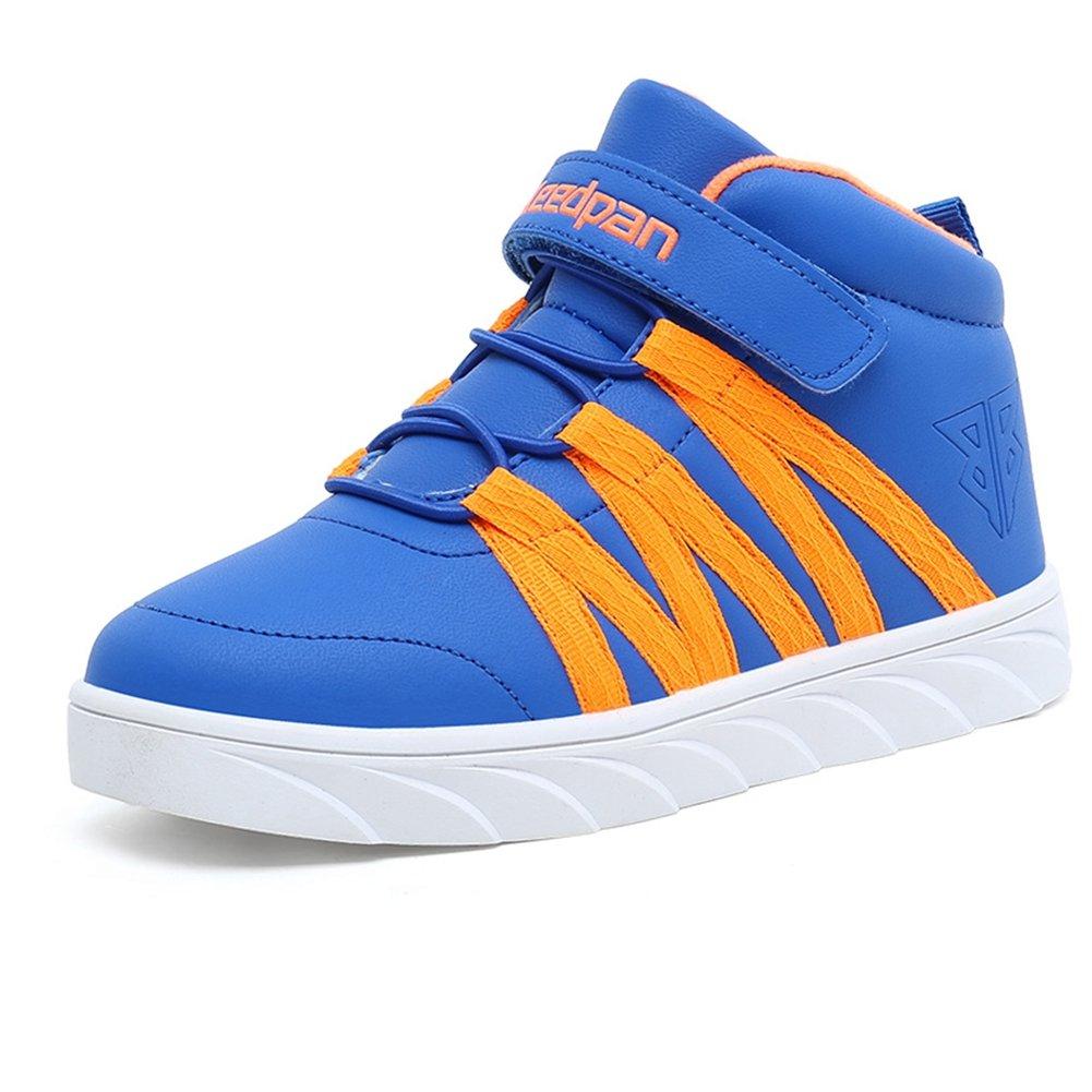 U-MAC Boys and Girls Walking Sneakers Winter Warm Mid Sports Velcro Strap Elastic Bungee Running Shoes by U-MAC