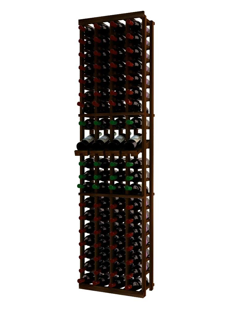 Wine Cellar Innovations RP-DW-4COLDS-A3 Traditional Series 4 Column with Display Wine Rack, Rustic Pine, Dark Walnut Stain