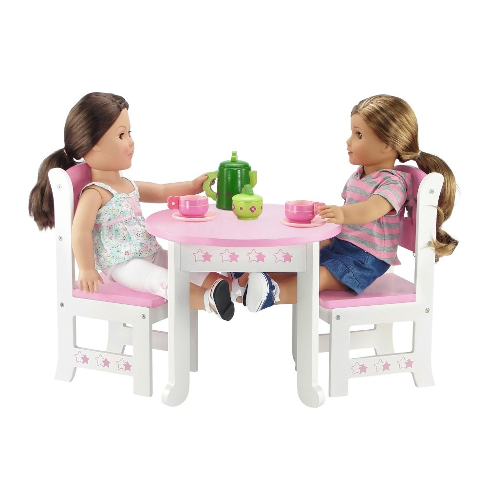 18 Inch Doll Furniture | Lovely Pink and White Table and 4 Chair ...