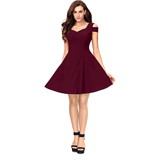 e50be7d29323 Addyvero Women s Cotton and Crush Cold Sleeves Skater Dress (Maroon