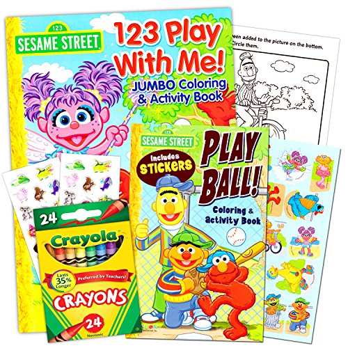 sesame street coloring books and crayons