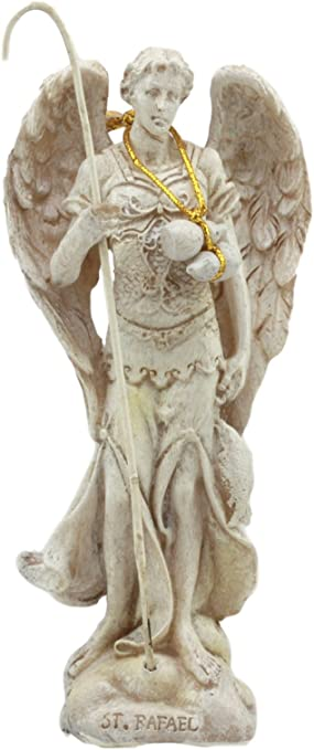Ebros Ivory Colored Holy Archangel Saint Raphael With Staff And Annointing Oil Statue 5 Tall Patron Of Guidance Healing Of God Collectible Figurine Sacrament Of Pennance Ivory Tone Finish Home Kitchen Amazon Com