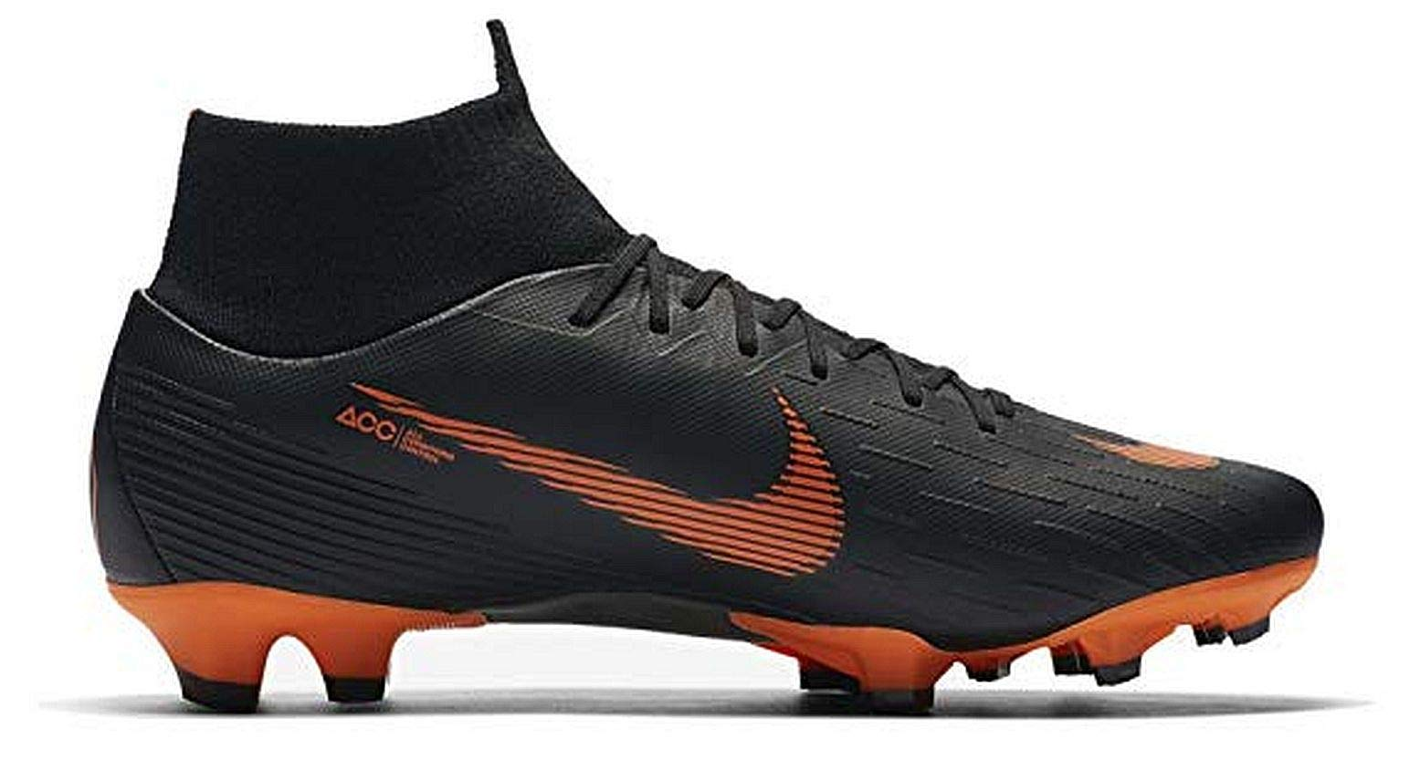 Nike Superfly 6 Pro FG Firm Ground Flyknit Mercurial Soccer Cleats 7.5 M US Black/Total Orange-White