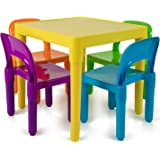 Kids Activity Table and Chairs Set - Toddler Activity Chair Best for Toddlers Reading, Train, Art, Crafts, Play-Room (4…