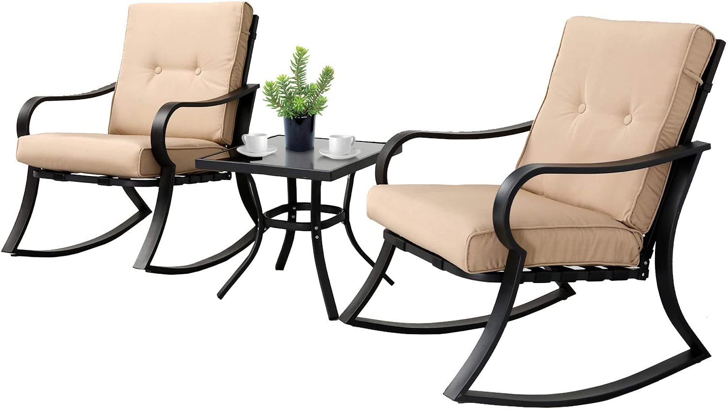 SOLAURA 3-Piece Outdoor Rocking Chairs Bistro Set, Black Steel Patio Furniture with Brown Thickened Cushion Glass-Top Coffee Table