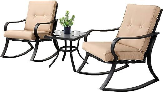 Amazon.com: Solaura - Juego de 3 sillas mecedoras, para ...