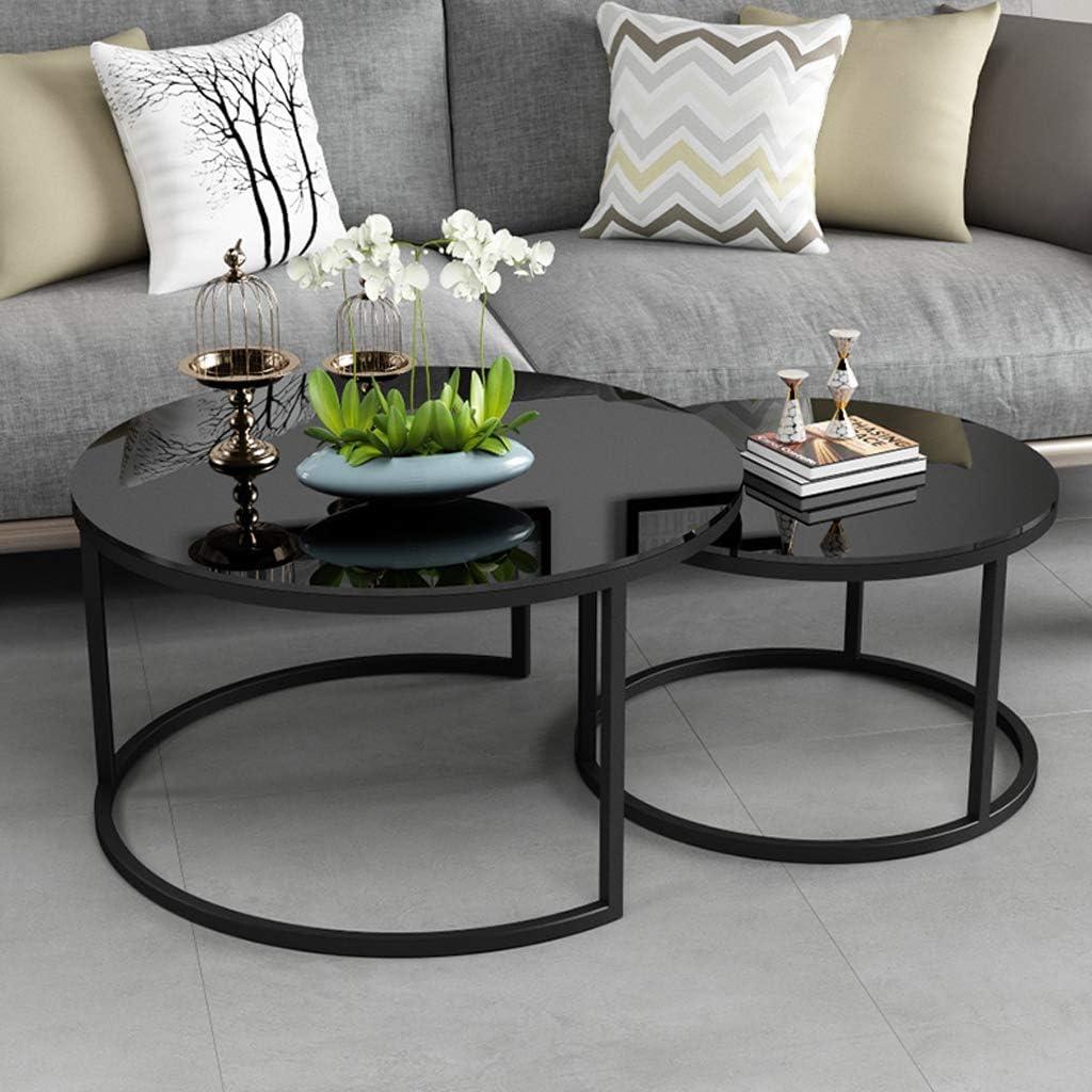 Best Verkopende Moderne ronde salontafel Nestbare stapeltafels Woonkamertafel Zwart metalen ijzeren frame, 60 cm x 40 cm / 80 cm x 45 cm (set van 2, gehard glas) A cKMjcge
