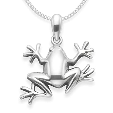 chain x size sterling necklace silver dp frog pendant on