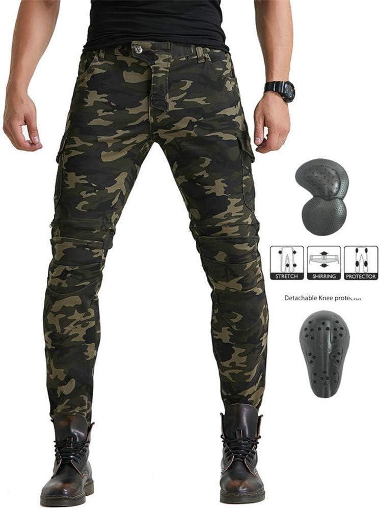 Pantalones De Motociclista Para Hombres, Pantalones De Carreras De Motocross, De Esterilla Protectora Extraíble, Pantalones De Moto Anticaídas, Pantalones De Camuflaje (M)