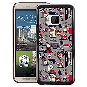 A-type Arte & diseño plástico duro Fundas Cover Cubre Hard Case Cover para HTC One M9 (Paper Pattern French Grey)