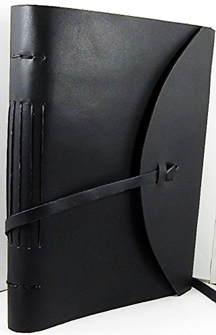 9'' x 12'' Black Leather Handmade Paper Sketchbook in Retro Tri-Fold Design Journal 320 unlined pages