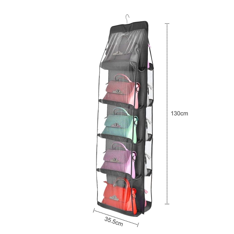 iMiMi Organizador de Bolso de Mano con 10 Bolsillos Bolsa para Colgar armarios Dormitorio Bolsa de Almacenamiento de Tela Gris para Sala de Estar Bolsa Transparente para Armario