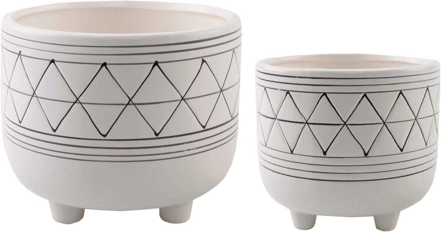 Amazon Com Flora Bunda Mid Century Set Of 2 Handpainted Geometric Ceramic Planter 6 Inch W 5 Inch W Ceramic Planter Pot With Sturdy Legs White And Black Line Planter Pot Kitchen