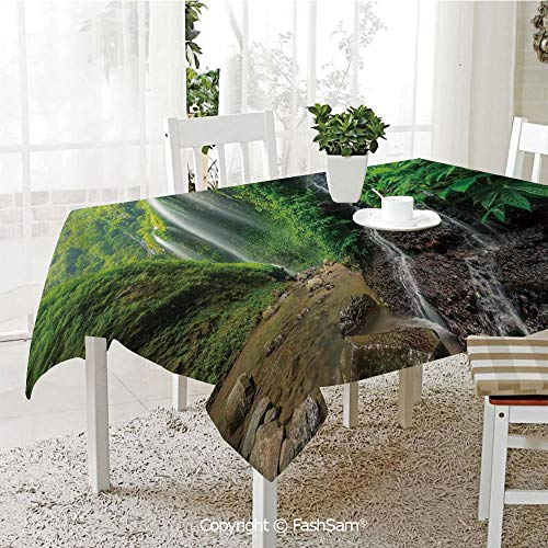 AmaUncle 3D Dinner Print Tablecloths Waterfalls Side Valley in Indonesia with Asian Bushes Above The Hills Resistant Table Toppers (W60 xL84)