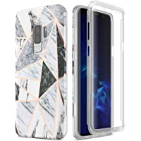 SURITCH for Samsung Galaxy S9 Plus Case 360 Protection Silicone Back Cover with Built in Screen Protector Slim Thin Bumper Shockproof Case for Samsung Galaxy S9 Plus (Geometric)