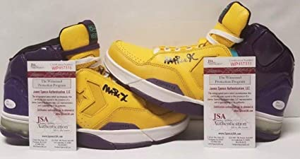 MAGIC JOHNSON Autographed Los Angeles Lakers WEAPON Shoes. WITNESSED - JSA  Certified - Autographed NBA 505f61c7e