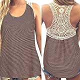 Tank Tops, FORUU Womens Summer Back Lace Casual Patchwork Crop Vest Camisole (XL, Khaki)