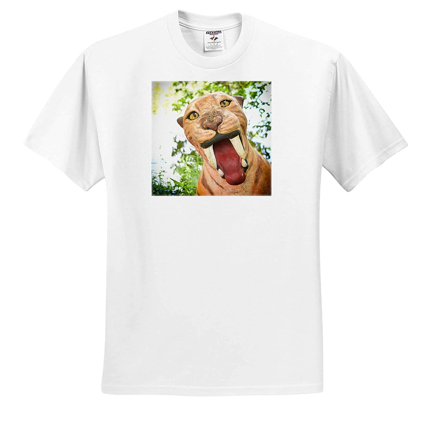 3dRose Susans Zoo Crew Animal T-Shirts Saber Tooth Tiger Statue with Lizard